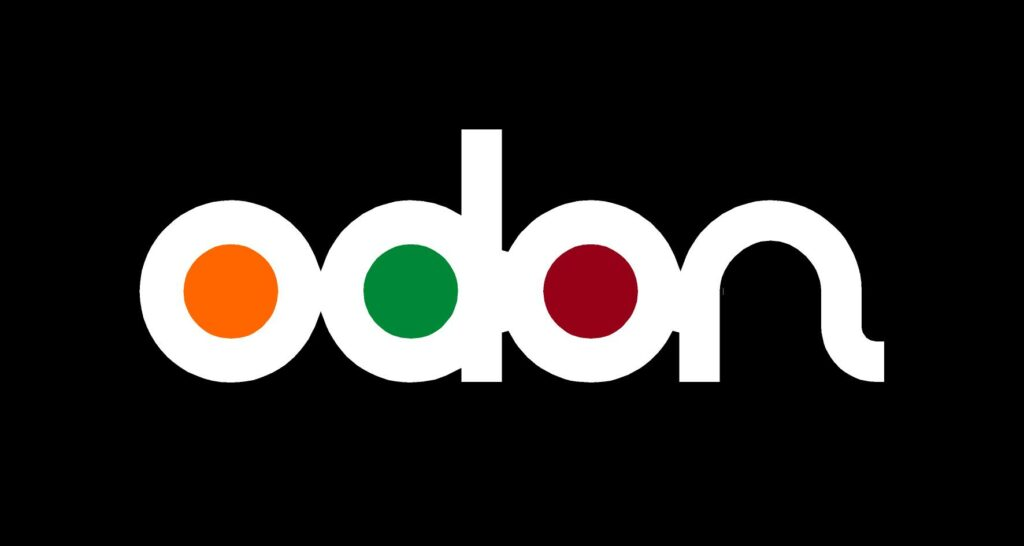 Immagine del logo Odòn a colori su fondo nero