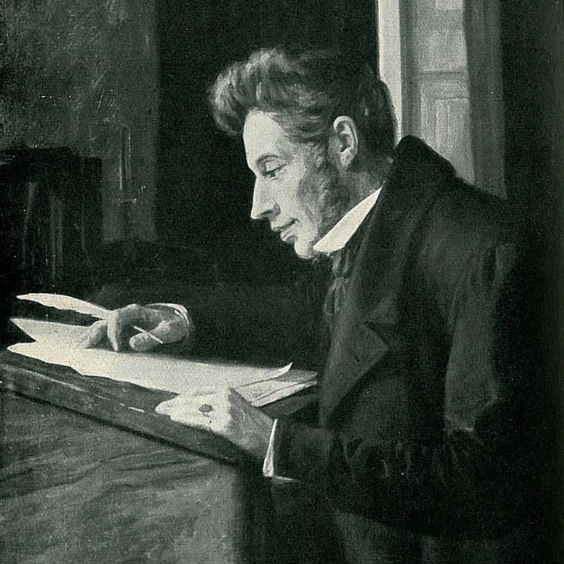 Immagine di Kierkegaard alla scrivania