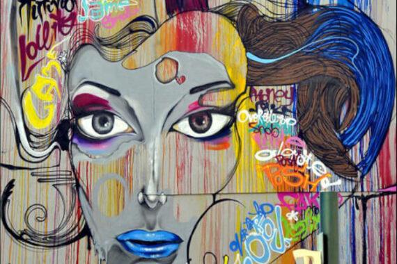 Immagine di un viso graffito