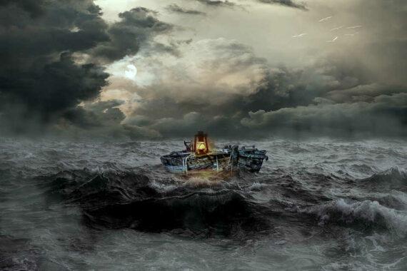 Immagine di nave in tempesta